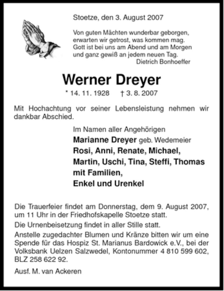 Traueranzeige für Werner Dreyer vom 07.08.2007 aus ALLGEMEINE ZEITUNG UELZEN