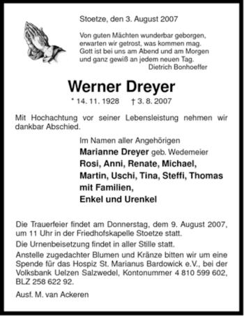 Traueranzeige von Werner Dreyer von ALLGEMEINE ZEITUNG UELZEN
