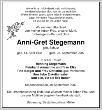 Traueranzeige von Anni-Gret Stegemann von ALLGEMEINE ZEITUNG UELZEN