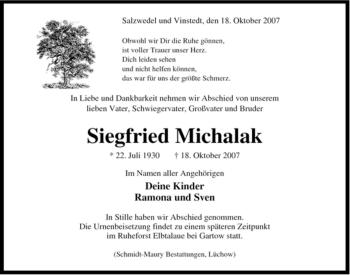 Traueranzeige von Siegfried Michalak von ALLGEMEINE ZEITUNG UELZEN