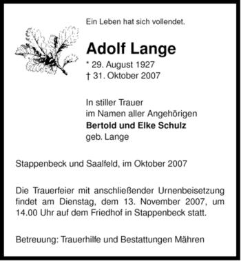 Traueranzeige von Adolf Lange von ALLGEMEINE ZEITUNG UELZEN