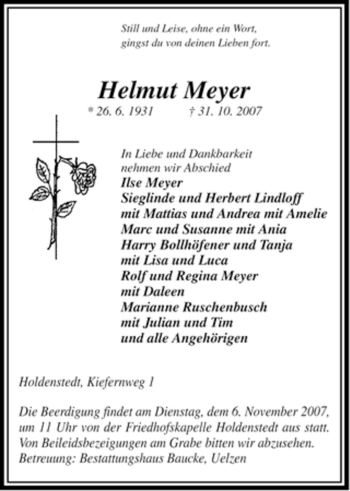 Traueranzeige von Helmut Meyer von ALLGEMEINE ZEITUNG UELZEN