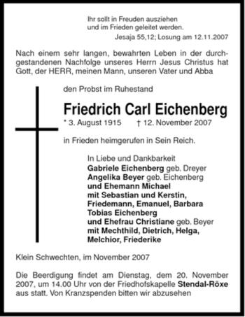 Traueranzeige für Friedrich Carl Eichenberg vom 15.11.2007 aus ALLGEMEINE ZEITUNG UELZEN