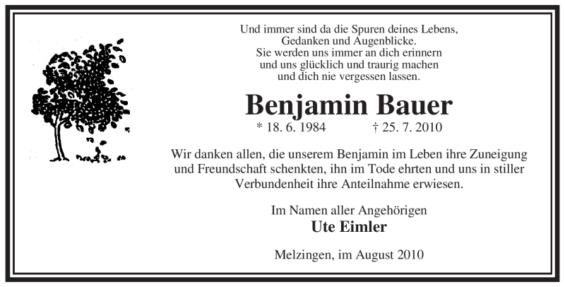 Traueranzeige für Benjamin Bauer vom 21.08.2010 aus ALLGEMEINE ZEITUNG UELZEN