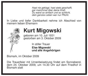 Traueranzeige von Kurt Migowski von ALLGEMEINE ZEITUNG UELZEN
