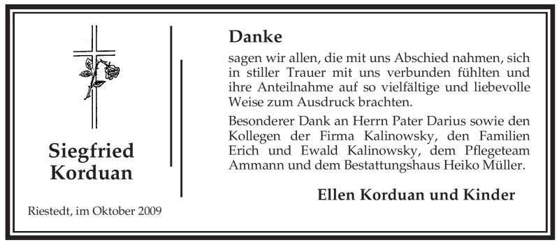 Traueranzeige für Siegfried Korduan vom 17.10.2009 aus ALLGEMEINE ZEITUNG UELZEN