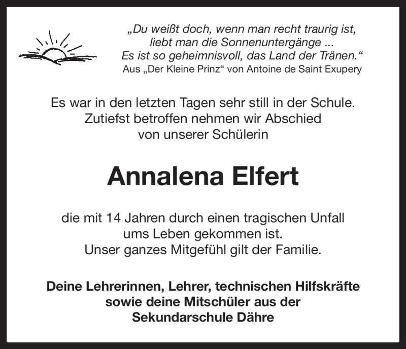 Traueranzeige für Annalena Elfert vom 23.11.2010 aus ALLGEMEINE ZEITUNG UELZEN