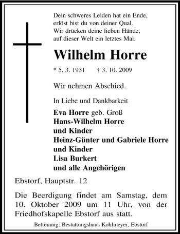 Traueranzeige von Wilhelm Horre von ALLGEMEINE ZEITUNG UELZEN