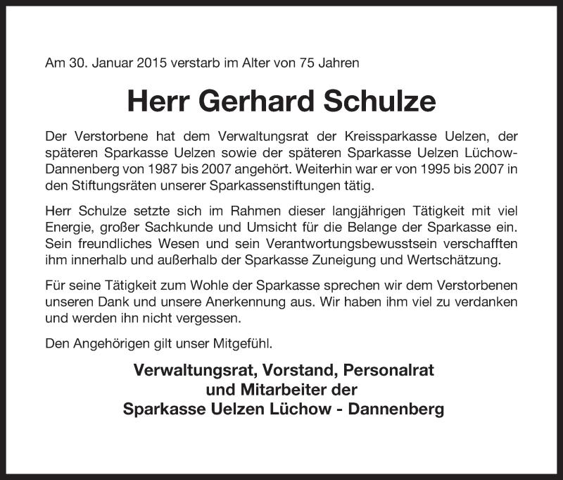 Traueranzeige für Gerhard Schulze vom 04.02.2015 aus Uelzen