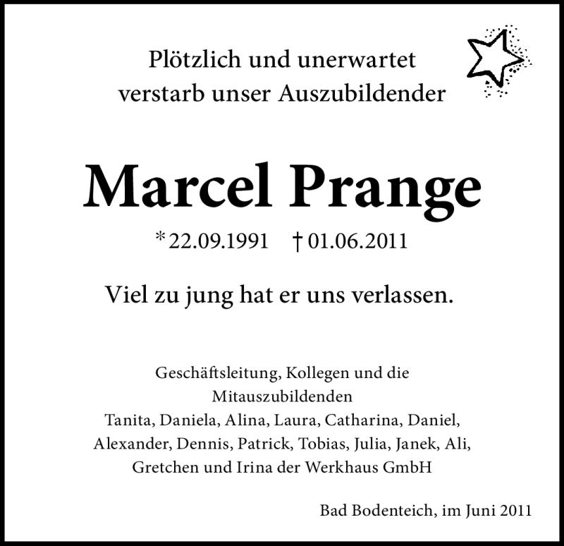 Anzeige von  Marcel Prange