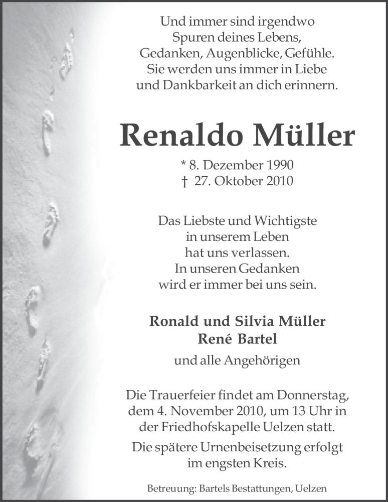 Anzeige von  Renaldo Müller