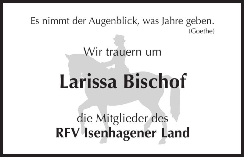 Traueranzeige für Larissa Bischof vom 23.10.2012 aus Uelzen