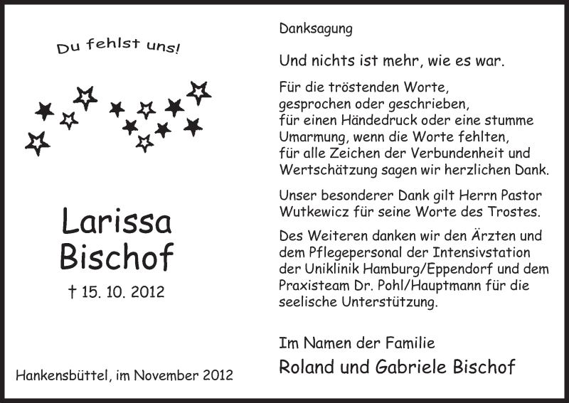 Traueranzeige für Larissa Bischof vom 10.11.2012 aus Uelzen