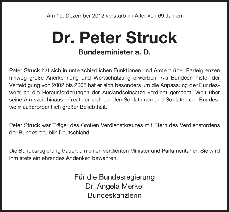 Traueranzeige für Peter Struck vom 22.12.2012 aus Uelzen