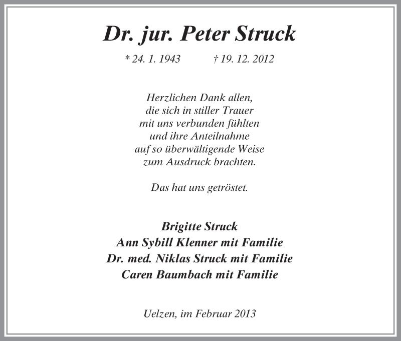 Traueranzeige für Peter Struck vom 02.02.2013 aus Uelzen