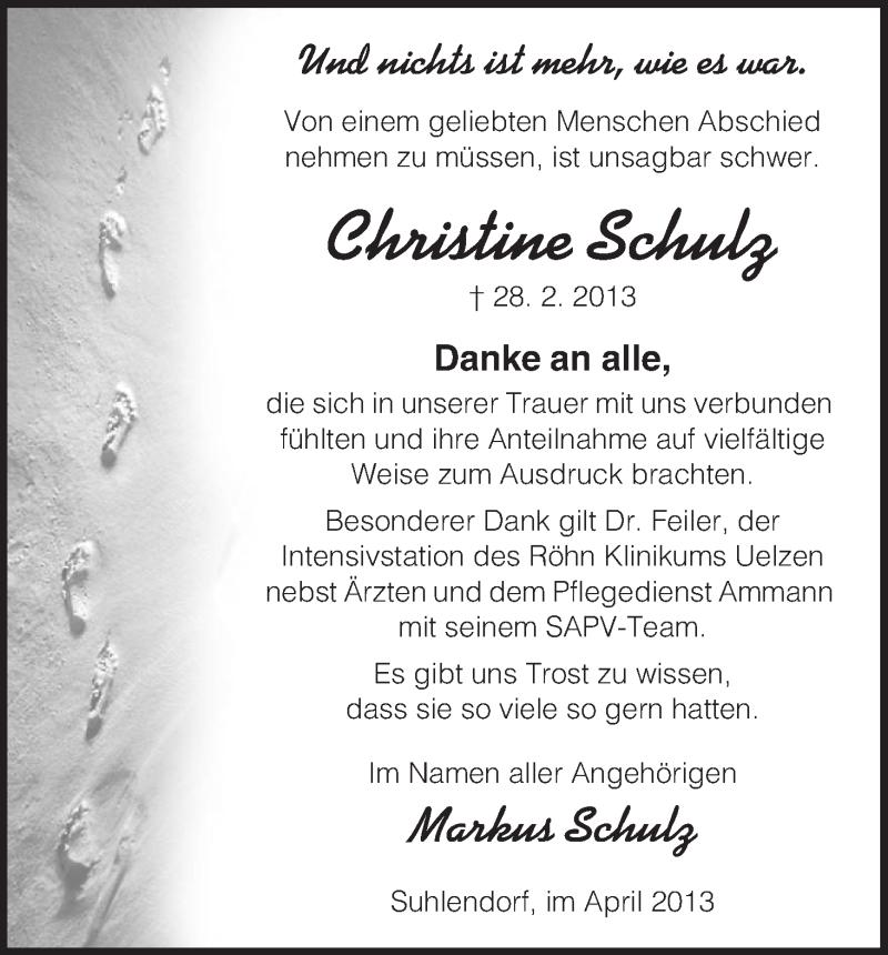 Traueranzeige für Christine Schulz vom 06.04.2013 aus Uelzen