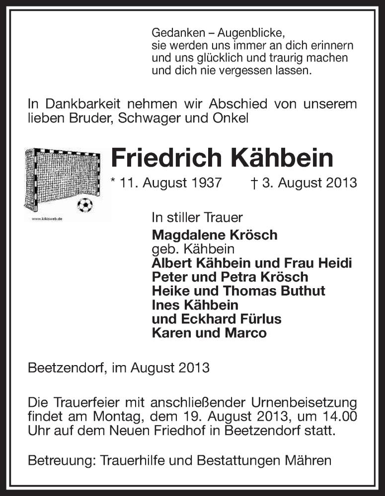 Traueranzeige für Freidrich Kähbein vom 06.08.2013 aus Uelzen