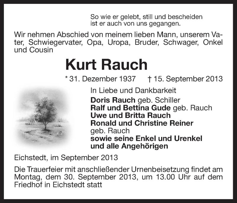 Traueranzeige für Kurt Rauch vom 24.09.2013 aus Uelzen