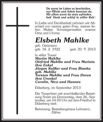 Traueranzeige von Elsbeth Mahlke von Uelzen