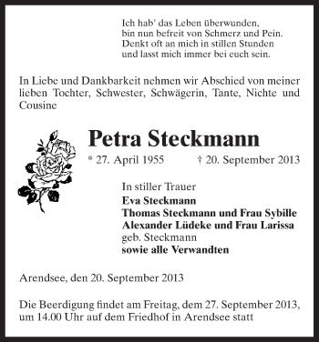 Traueranzeige von Petra Steckmann von Uelzen