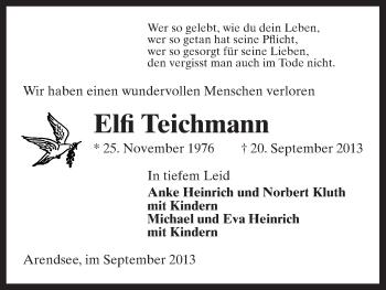 Traueranzeige von Elfi Teichmann von Uelzen