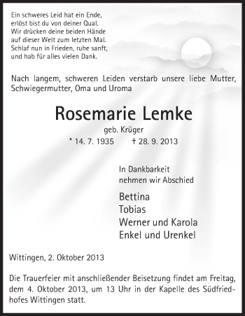 Traueranzeige von Rosemarie Lemke von Uelzen