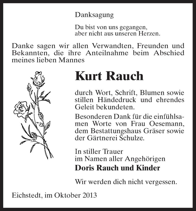 Traueranzeige für Kurt Rauch vom 08.10.2013 aus Uelzen