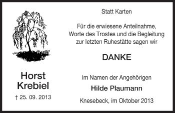 Traueranzeige von Horst Krebiel von Uelzen