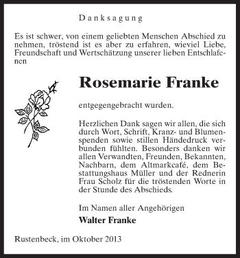 Traueranzeige von Rosemarie Franke von Uelzen