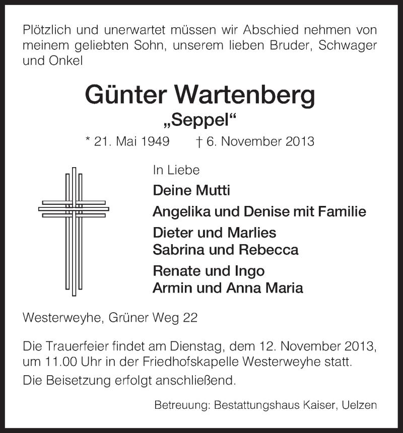 Anzeige von  Günter Wartenberg