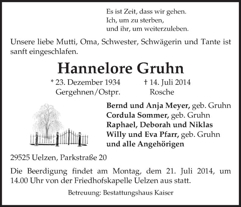 Traueranzeige für Hannelore Gruhn vom 16.07.2014 aus Uelzen