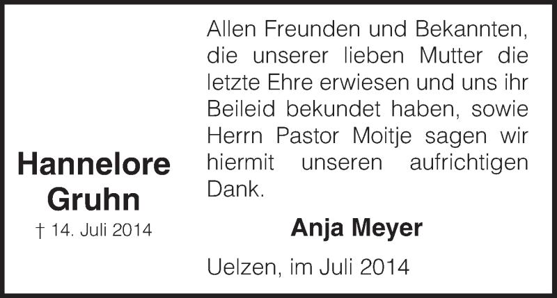 Traueranzeige für Hannelore Gruhn vom 26.07.2014 aus Uelzen