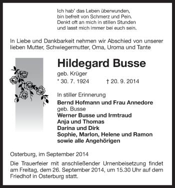 Traueranzeige von Hildegard Busse von Uelzen