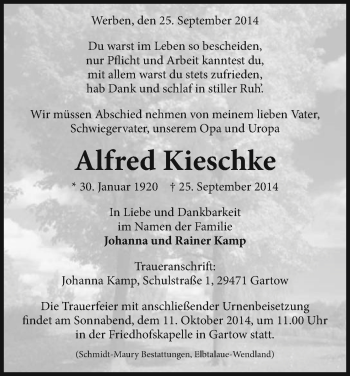 Traueranzeige von Alfred Kieschke von Uelzen
