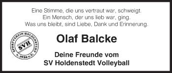 Traueranzeige von Olaf Balcke von Uelzen