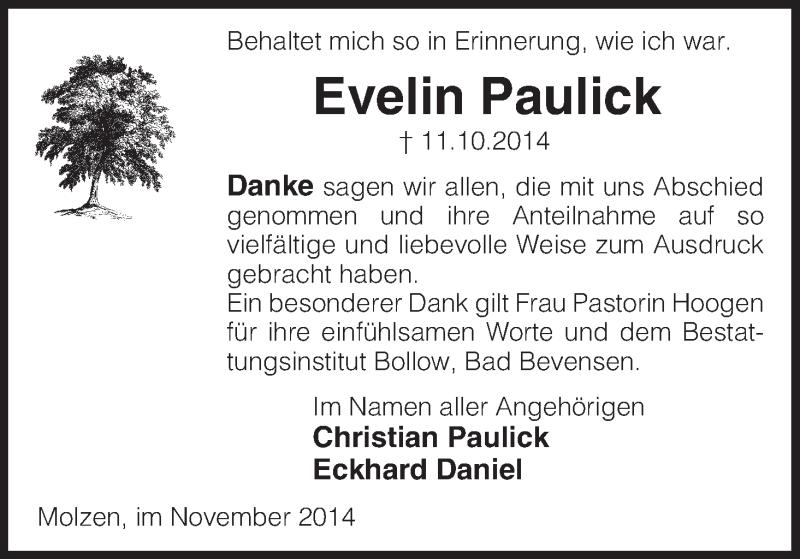 Anzeige von  Evelin Paulick
