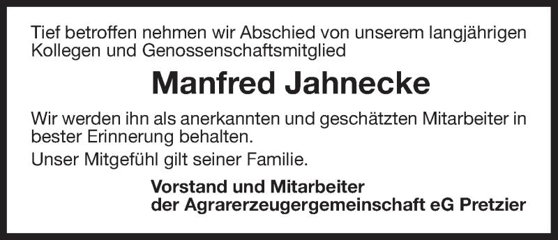 Anzeige von  Manfred Jahnecke