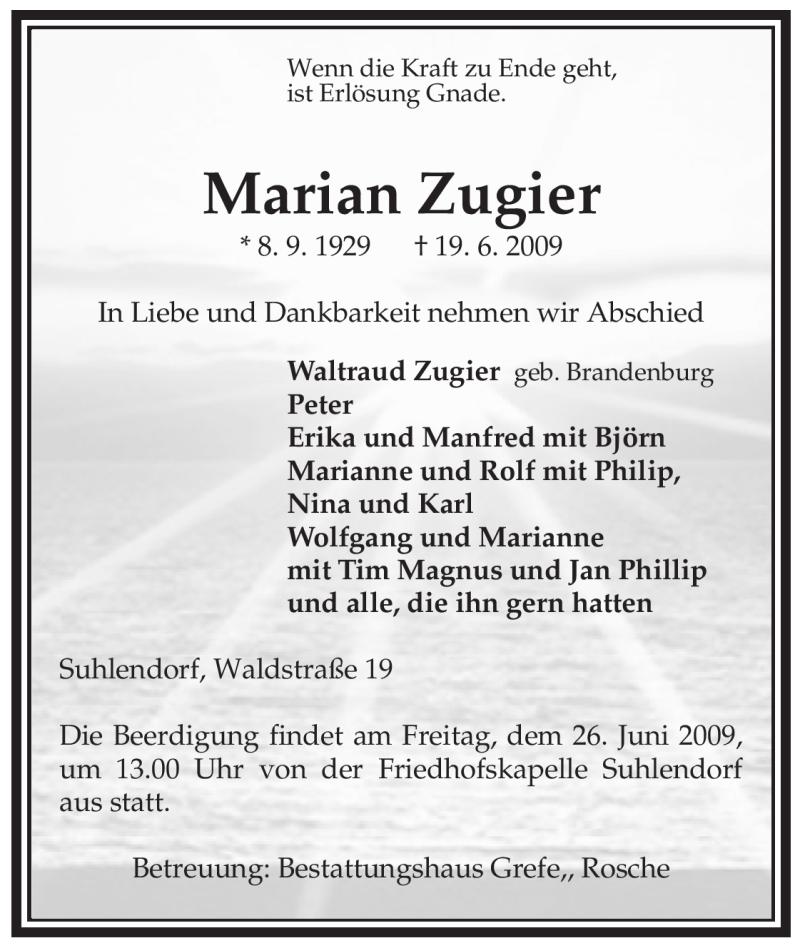Anzeige von  Marian Zugier