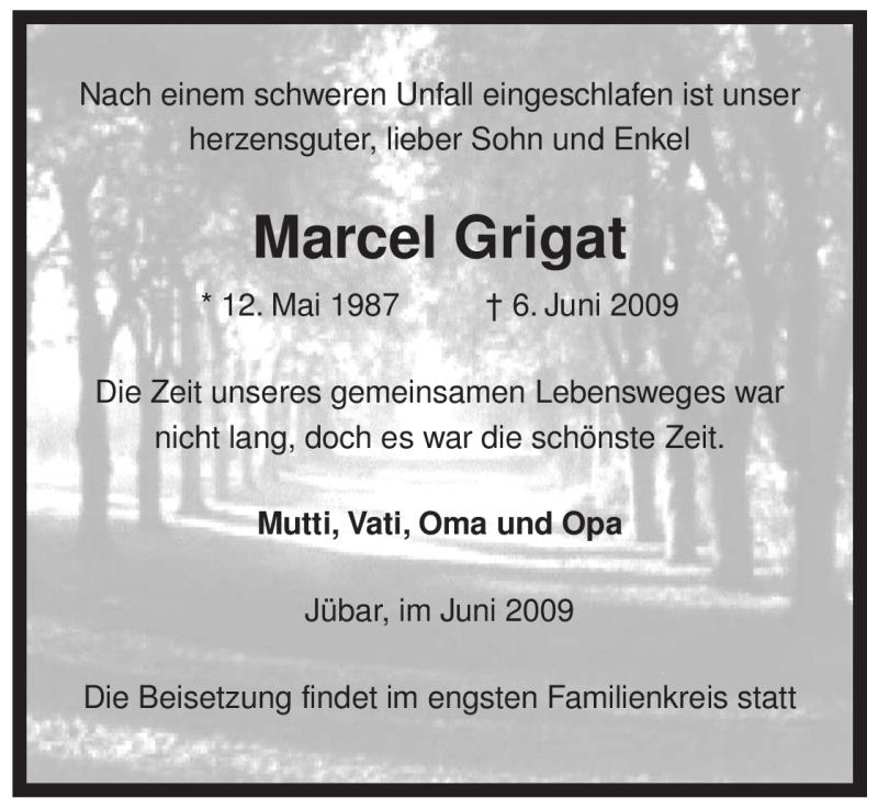 Traueranzeige für Marcel Grigat vom 10.06.2009 aus ALLGEMEINE ZEITUNG UELZEN
