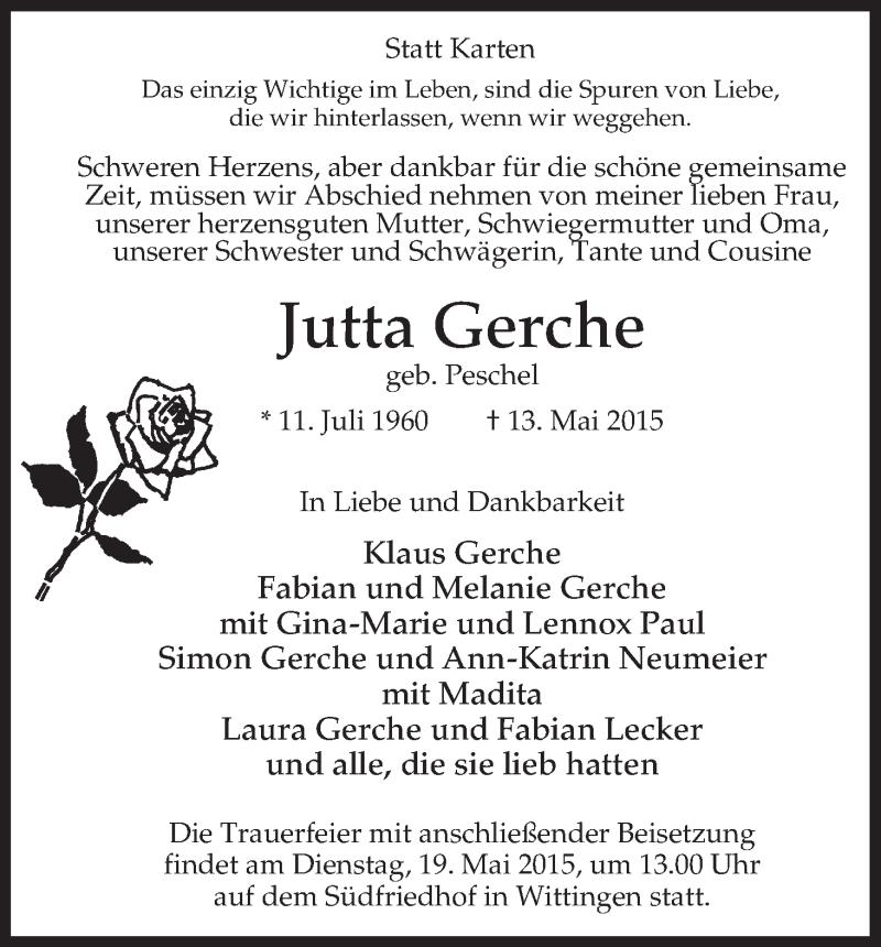 Anzeige von  Jutta Gerche