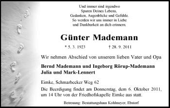 Traueranzeige von Günter Mademann von ALLGEMEINE ZEITUNG UELZEN