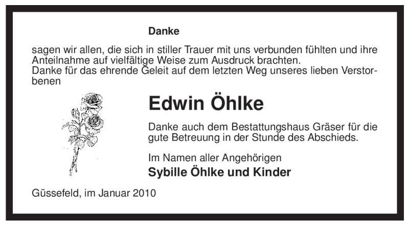 Traueranzeige für Edwin Öhlke vom 05.02.2010 aus ALLGEMEINE ZEITUNG UELZEN