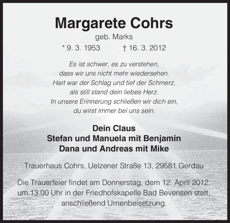 Traueranzeige für Margarete Cohrs vom 24.03.2012 aus ALLGEMEINE ZEITUNG UELZEN