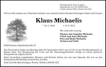 Traueranzeige von Klaus Michaelis von ALLGEMEINE ZEITUNG UELZEN
