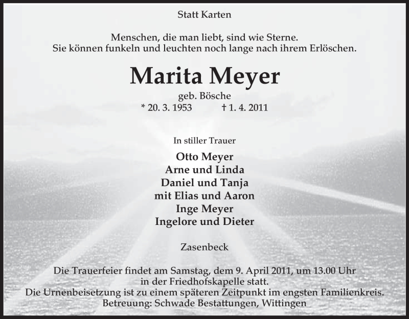 Traueranzeige für Marita Meyer vom 04.04.2011 aus ALLGEMEINE ZEITUNG UELZEN