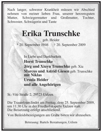 Traueranzeige von Erika Trunschke von ALLGEMEINE ZEITUNG UELZEN