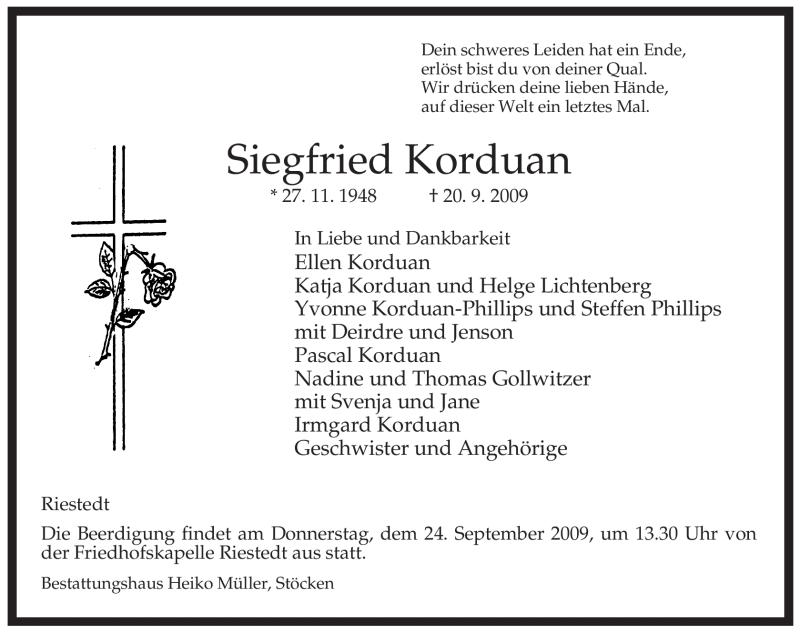 Traueranzeige für Siegfried Korduan vom 22.09.2009 aus ALLGEMEINE ZEITUNG UELZEN