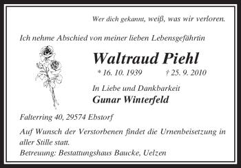 Traueranzeige von Waltraud Piehl von ALLGEMEINE ZEITUNG UELZEN