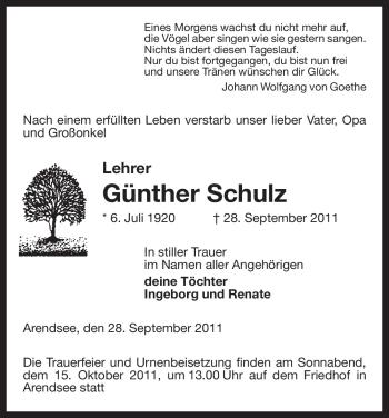 Traueranzeige von Günther Schulz von ALLGEMEINE ZEITUNG UELZEN