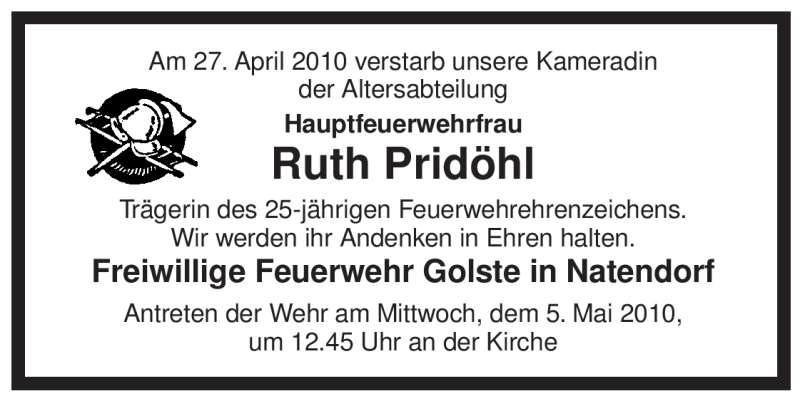 Anzeige von  Ruth Pridöhl